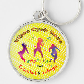 Trinidad and Tobago Carnival Silver-Colored Round Key Ring