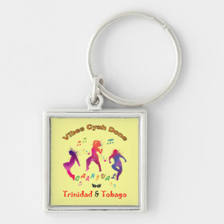 Trinidad and Tobago Carnival Silver-Colored Square Key Ring