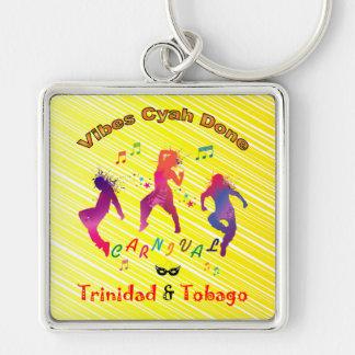 Trinidad and Tobago Carnival Silver-Colored Square Key Ring