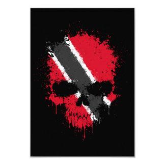 Trinidad and Tobago Dripping Splatter Skull 9 Cm X 13 Cm Invitation Card