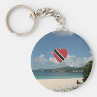 Trinidad and Tobago Flag Basic Round Button Key Ring