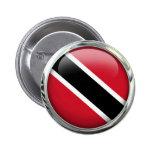 Trinidad And Tobago Flag Glass Ball Pinback Button