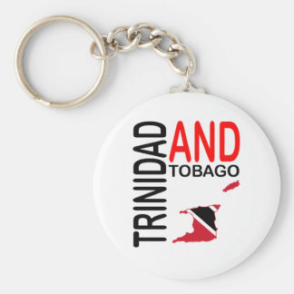 Trinidad and Tobago Flag Map Basic Round Button Key Ring