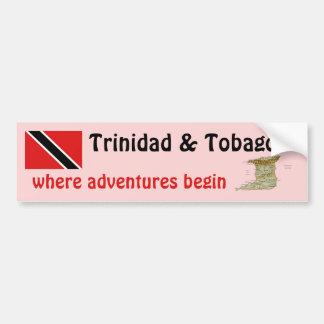 Trinidad and Tobago Flag + Map Bumper Sticker