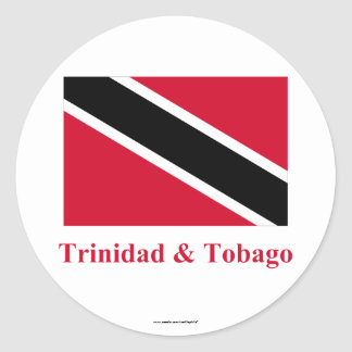 Trinidad and Tobago Flag with Name Classic Round Sticker