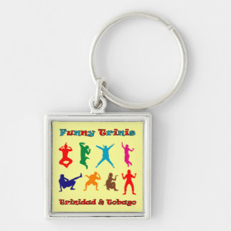 Trinidad and Tobago Funny Trinis Silver-Colored Square Key Ring