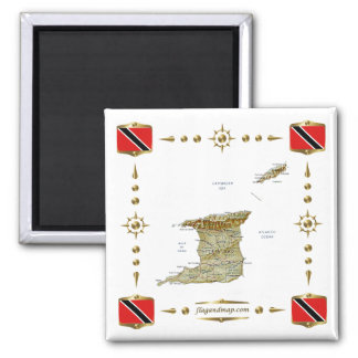 Trinidad and Tobago Map + Flags Magnet