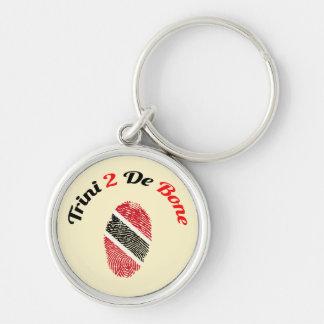 Trinidad and Tobago Trini 2 De Bone Silver-Colored Round Key Ring