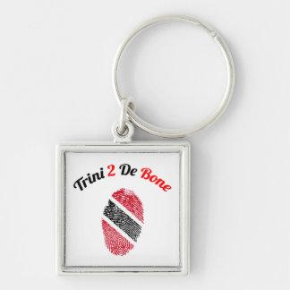 Trinidad and Tobago Trini 2 De Bone Silver-Colored Square Key Ring
