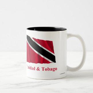 Trinidad and Tobago Waving Flag with Name Two-Tone Coffee Mug