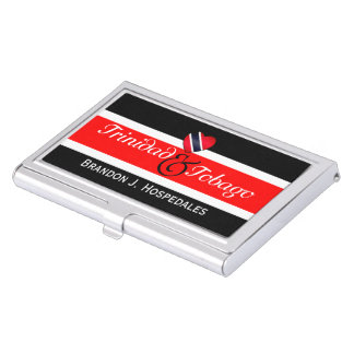 Trinidad Flag Heart (Your Name) Business Card Holder