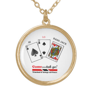 Trinidad & Tobago All Fours Game Round Pendant Necklace