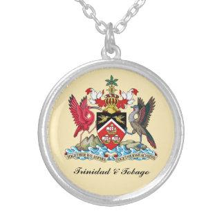 Trinidad & Tobago Coat Of Arms Round Pendant Necklace