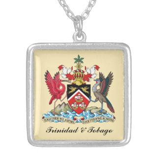 Trinidad & Tobago Coat Of Arms Square Pendant Necklace