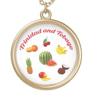Trinidad & Tobago Fruits And Vegetables Round Pendant Necklace