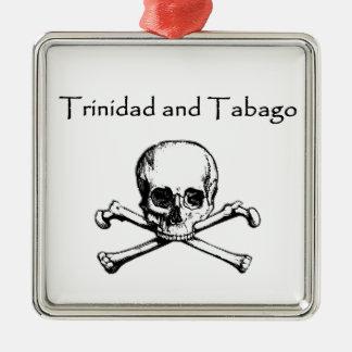 Trinidad - Tobago Pirate Logo (Jolly Roger) Silver-Colored Square Decoration