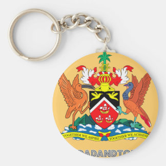 Trinidadian Emblem Basic Round Button Key Ring