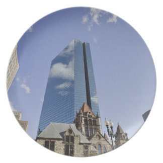 Trinity Church in foreground.  John Hancock Plate