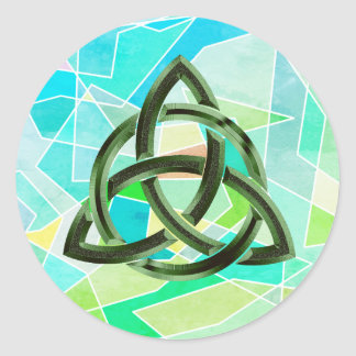 Trinity Knot Celtic Geometric Green Metal Glitter Classic Round Sticker