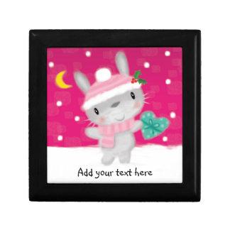 ♥ TRINKET BOX ♥ Cute Christmas bunny rabbit snow