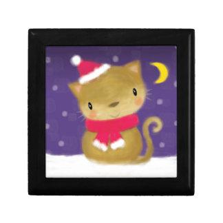 ♥ TRINKET BOX ♥ Cute Christmas cat in snow purple