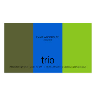 Trio Dark Olive, Bright Blue & Green Business Card Templates