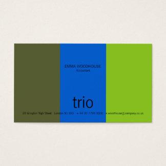 Trio Dark Olive, Bright Blue & Green Business Card