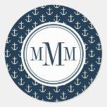 Trio Monogram Anchor Pattern Round Sticker