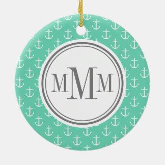Trio Monogram Mint White Anchor Pattern Christmas Ornament