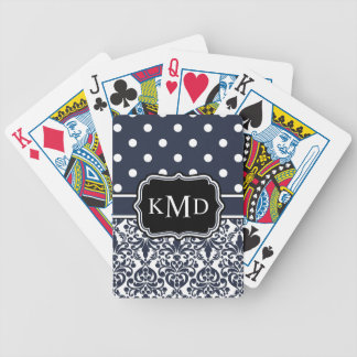 Trio Monogrammed Navy Damask Bicycle Playing Cards