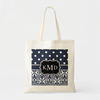 Trio Monogrammed Navy Damask Tote Bag