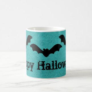 Trio of Bats Halloween Mug, Teal Basic White Mug