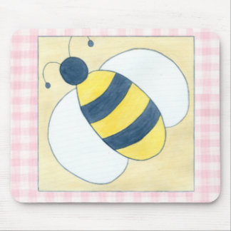 Trio of Bees with Flowers Mouse Mat