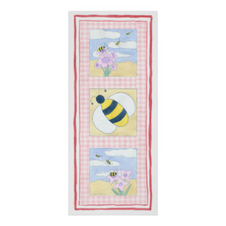 Trio of Bees with Flowers Poster
