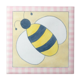 Trio of Bees with Flowers Tile