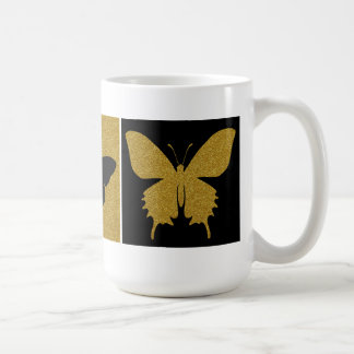 Trio of Butterflies, Black & Glitter Gold Coffee Mug