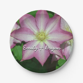 Trio of Clematis Pink and White Spring Flowers Paper Plate