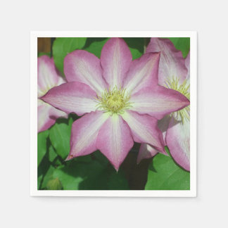 Trio of Clematis Pink and White Spring Flowers Paper Serviettes
