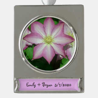 Trio of Clematis Pink and White Spring Flowers Silver Plated Banner Ornament