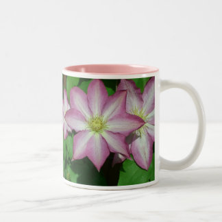 Trio of Clematis Pink and White Spring Flowers Two-Tone Coffee Mug
