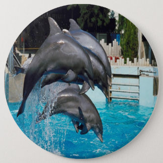 Trio-of-dolphins, button. 6 cm round badge