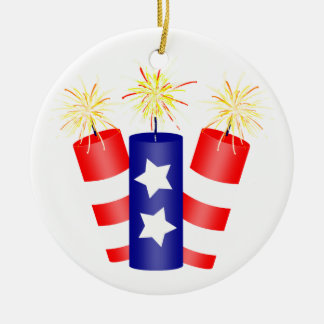 Trio of Firecrackers for the 4th of July Christmas Ornament