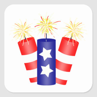 Trio of Firecrackers for the 4th of July Square Sticker