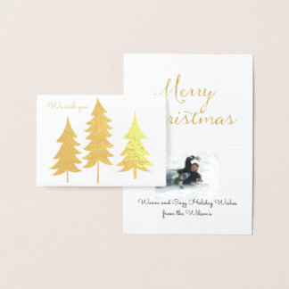 Trio of Gold Trees Christmas Wishes Foil Card