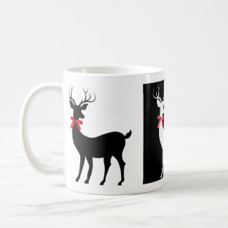 Trio of Holiday Reindeer w Bows (B&W) Coffee Mug