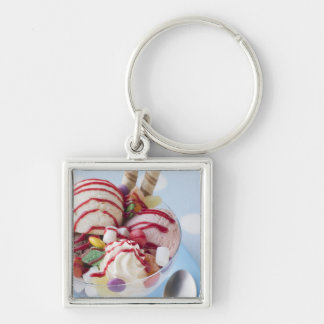 Trio of Ice Cream and Sweet Sundae Silver-Colored Square Key Ring
