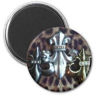 Trio of inverted Fleur de lis 6 Cm Round Magnet