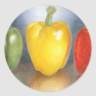 Trio of Peppers Art Round Sticker