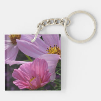 Trio of Pink Cosmos Acrylic Key Chains