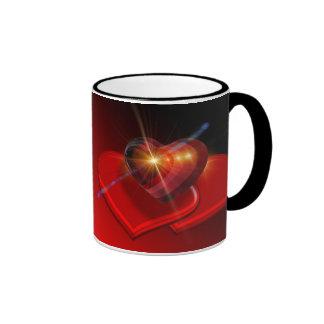 Trio of Red Valentine Hearts Ringer Mug